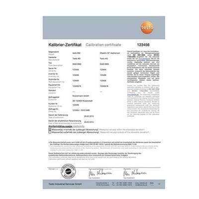 ISO - Kalibrační certifikát  + Obj.č.: 0520 0489