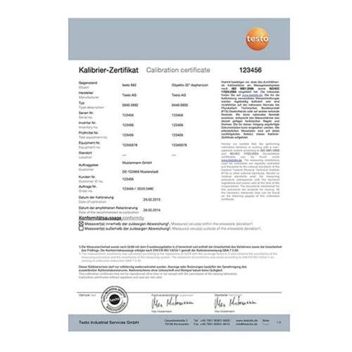 ISO - Kalibrační certifikát obj.č.: 0520 0490